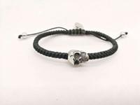Wholesale indian braid jewelry - New Original Design Bracelet for Men Women Braided Wax Cord with Stainless Steel Skull Head Fashion Jewelry Lemon818