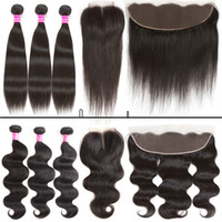 Wholesale lace closure brazilian resale online - Glary Cheap Brazilian Virgin Hair Body Wave Straight Bundle And x4 lace closure or x4 lace frontal human hair weft
