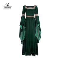 vintage victorian kostüme frauen großhandel-ROLECOS Flanell Lolita Kleid Renaissance viktorianischen Kleid Frauen Halloween Kostüm Retro Vintage Langarm Party Kleidung
