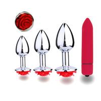 juguetes para patio trasero al por mayor-4 pcC / Set Rose Flower Penis Steel Butt Plug Consolador Clítoris Estimulación Vibrador Plug Anal Masajeador Backyard Beads Sexo Anal Juguetes A3