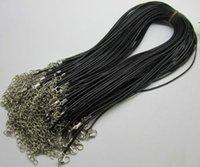 ingrosso 18 collana in pelle di cuoio-1mm 1.5mm 2mm 3mm 100 pz nero regolabile vera vera collana cordoncino in pelle per catena di gioielli artigianali fai da te 18 '' con chiusura aragosta