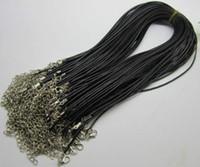 18 lederband halskette großhandel-1mm 1,5mm 2mm 3mm 100 stück schwarz einstellbar echtes echtes leder halskette schnur für diy handwerk schmuckkette 18 '' mit karabinerverschluss