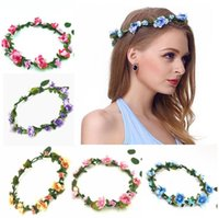 Wholesale wreath wholesalers - New Decorative Flowers Wreaths Bride Bohemian Flower Headband Wedding Floral Garland Hair Band Headwear Hair Accessories 10 Color CB143