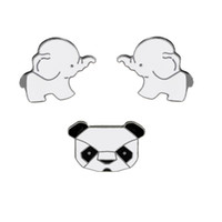 Wholesale Panda Pins - Fashion Cartoon Animals Enamel Brooches Pins Set Cute Panda Elephant Pins for Clothes Bags Badges Wedding Lapel Pins Jewelry
