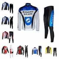 Wholesale bicycle clothing for men - GIANT 2018 Cycling Jerseys long Sleeves (bib) pants sets outdoor For Men Bike Wear Bicycle Clothing E1416