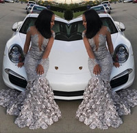 Wholesale black gown white flowers resale online - Black Girls Mermaid Prom Dresses Silver D Flowers Illusion Long Sleeves Appliques Sequins Evening Gowns Custom Made