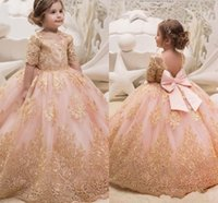 Wholesale teen prom dresses short - Arabic Dubai Style Formal Flower Girl Dresses For Weddings Princess Ball Gown Gold Appliques Bow Sash Long Party Prom Gowns For Teens