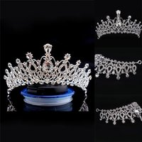 Wholesale wedding hair royal crown online - Luxury Bridal Crown Cheap but High Quality Sparkle Beaded Crystals Royal Wedding Crowns Crystal Veil Headband Hair Accessories Party CPA790