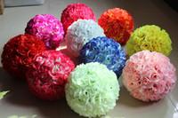 Wholesale Hanging Flower Balls - 8 Inch Wedding Silk Flowers Ball Pomander Kissing Balls 2018 Wedding Decorations Artificial Roses For Garden Market Party Decoration