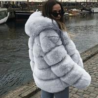 ingrosso cappotto di pelliccia di mink della donna-Più le donne visone cappotti invernali con cappuccio Nuovo Faux Fur Jacket spesso caldo della tuta sportiva donne giacca invernale cappotto caldo