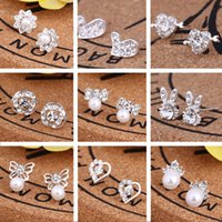 Wholesale stud earings heart - 2018 New Arrival Best Friends White Gold Plated Earings Big Diamond Earrings for Women White Zircon Earrings 45 pairs Lot, Mix styles