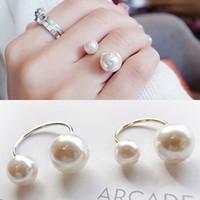 ingrosso anello di fidanzamento 18kgp-Anelli per le donne Perle simulate 18KGP Anelli regolabili Gioielli di moda Anel Wedding Engagement Finger Ring 2017