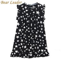 Wholesale 3t petal dress for sale - Group buy Bear Leader Girls Dress New Summer White Five Pointed Star Black Children Dresses Hot Sell Kids O Neck Petal Sleeve Clothes