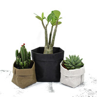 Wholesale Wholesale Mini Paper Flowers - Kraft Paper Flowerpot Foldable Pots Waterproof 4 colors Environmental Protection Planters Flower Art Mini Garden Vegetable pouch Storage bag