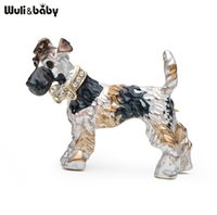 Wholesale Red Dog Christmas Sweater - Enamel Schnauzer Banquet Rhinestone Dog Brooches Alloy Suits Sweater Hat Animal Brooch Pins Scarf Buckle Women Gift