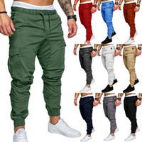 calça spandex verde mens venda por atacado-Mens Pleated Cargo Pants Vários Bolsos Slim Fit Calças Preto Azul Do Exército Verde Corredores Frete Grátis