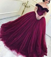 Wholesale dresss plus size resale online - Modest Wine Red Quinceanera Dresss Princess Arabic Dubai Off Shoulder Sweet Ages Long Girls Prom Party Pageant Gown Plus Size Custom Made