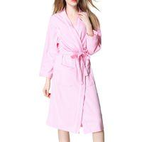 37241a514e Women s Waffle Cotton Robes Long Sleeve Kimono Bath Robes Spring Knee-Length  Women s Spa Bathrobe Sleepwear