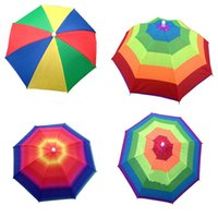 chapéus do sol do arco-íris venda por atacado-New Foldable Sun Rainbow Umbrella Hat Adjustable Headband Hat Umbrella Hiking Fishing Outdoor 3 Colors 30pcs lot T2I415