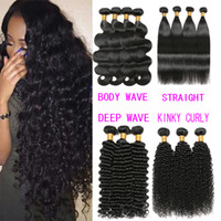 Wholesale Brown Curly Hair Extensions Weft - 8A Unprocessed Brazilian virgin Bundles Deep Wave Curly Hair Weft Human Hair Peruvian Indian Malaysian Hair Extensions Dyeable free shipping