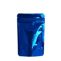tee-set blau großhandel-100 teile / los 8,5 * 13 cm Blau Glänzende Oberfläche Aufstehen Zip-Lock Aluminium Mylar Verpackung Tasche Wärme Sealable Getrocknete Lebensmittel Tee Snacks Pack Beutel Taschen