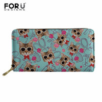Wholesale card making designs - FORUDESIGNS Cartoon Design Cute Cat Women's Purse Fashion Clutch Leather Custom Made Wallet Phone Key Card Bag Long Money Bag