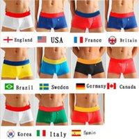 iç çamaşırı bayrakları toptan satış-Marka Yeni Ülke Bayrağı Modeli Boksörler Erkekler Şort Pamuk Seksi erkek Iç Çamaşırı Üst Kalite Erkekler Için Orijinal Tasarımcı Külot