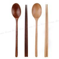 Wholesale Korean Tableware - Environmental wooden spoon chopsticks two-piece suit Japanese Korea style portable safe tableware children nice dinnerware free ship