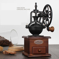 Wholesale Manual Coffee Grinder Retro Style Wooden Coffee Bean Mill Grinding Ferris Wheel Design Hand Coffee Vintage Maker Kitchen Tools