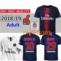 Wholesale foot patches - 2018 2019 Paris soccer jersey 18 19 neymar jr mbappe CAVANI PSG football shirts survetement maillot de foot customize uniform ligue patch