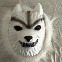 desenho de máscara branca venda por atacado-Lobo branco Máscara de Cabelo Trajes de Halloween Dos Desenhos Animados de Plástico Crianças Kid Adultos Brinquedos Cosplay Partido Suprimentos Máscaras Ventilação 4FB bb