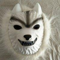 ingrosso cartone animato bianco maschera-White Wolf Maschera per capelli Costumi di Halloween Cartone animato di plastica per bambini Kid Adulti Giocattoli Cosplay per feste Maschere Ventilazione 4fl bb