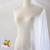 Wholesale Embroidered Tulle Fabrics - White black Grid fashion tulle fabric wedding dress bridle veil gauze clothing decoration materials DIY accessories