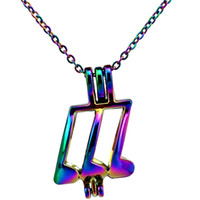 Wholesale musical note chain for sale - Group buy C754 Rainbow Color Musical Note Beads Cage Pendant Essential Oil Diffuser Aromatherapy Pearl Cage Locket Pendant Necklace