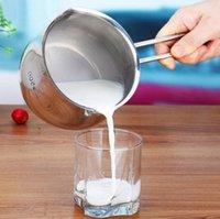 шоколадная кружка оптовых-Лоток молока SUS304 Stanless стальной, Серебр баков шоколада кувшина Сливочника чашки кружки, 14 cm, 0.8 Litre