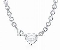 pendentif en argent sterling 925 en forme de mode achat en gros de-Haute qualité conception de la célébrité lettre clé en argent trèfle collier 925 argenterie mode en métal en forme de coeur pendentif collier bijoux avec boîte