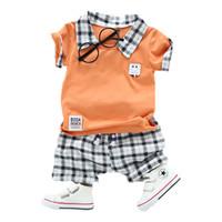 Wholesale fake baby clothing resale online - Baby boy clothes fashion plaid shirt fake two pieces shirts black white plaid pants boys clothing sets