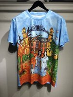 Wholesale Fairy T Shirt - 2018 new summer brand men t-shirt 3D fairy tale manor illustrations pattern T-shirt White collar short sleeves man Tops Hipster Tees