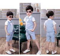 Wholesale Children Spring New Suit 3pcs - 2018 Summer New Fashion Boys Formal Suits 3pcs Short Vest +Short Pant+ Shirt Children Kids Wedding Clothing Sets