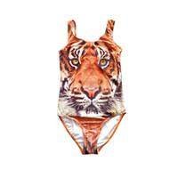 Wholesale swimwear children for girl online - 8 Years One Piece D Tiger Girls Swimwear Children Swimsuit Cartoon Large Size Beachwear For Kids Summer Swimsuit