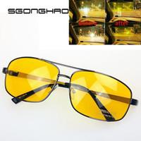 sürücü hd toptan satış-Marka Sürücü Sürüş HD Yüksek Çözünürlüklü Gece Görüş Güneş Gözlüğü Sarı Lens