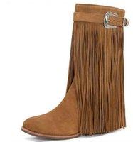 ingrosso scarpe da donna marrone per le donne-2018 donne stivali nappa bottoni fibbia frange stivaletti stivali di stoffa vestito di colore marrone stivali scarpe da sera