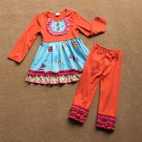 sonbahar portakal elbiseleri toptan satış-Yeni Kız Elbise turuncu tatlılar tasarım Güz Pamuklu Giyim Pantolon Kız Sevimli Elbise setleri