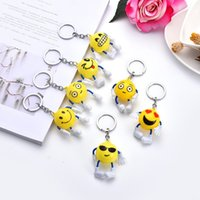 Wholesale keys smile resale online - Cartoon Emoji Keys Chain New Cute Yellow Smiling Face Key Buckle Knapsack Pendant Many Styles dh C