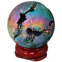 Wholesale rainbow titanium jewelry for sale - SUNYIK Rainbow Aura Titanium Coated Druzy Agate Geode Sphere Ball Divination Reiki Healing Figurine With Wood Stand