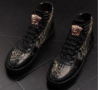 zapatos de tacón grueso de marfil al por mayor-Nuevo estilo Otoño Invierno Hombres Casual High Top Shoes Cuero genuino de la manera con cordones de colores sólidos planos con jóvenes zapatos casuales BMM260