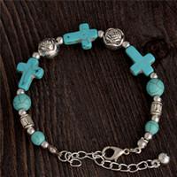 handgefertigte steinkreuze großhandel-Großhandel-Gypsy Tibetischen Silber Türkis Stein Kreuz Perlen Handmade Vintage Armband Armreif Schmuck Kreuz Armband für Frauen Schmuck