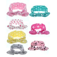 Wholesale infant girl headwraps - 7 Pcs lot Baby Infant Flower Bow Hairband Turban Knot Rabbit Headband Kids Girl Child Headwraps Toddler Hair Band Accessories