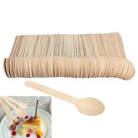 Wholesale Eco Friendly Disposable Spoons - 100pcs  Lot Disposable Mini Wooden Spoon Ice Cream Spoons Wedding Party Banquets Crafting Cultery Eco -Friendly Kitchen Utensils