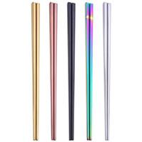 pauzinhos de aço inoxidável de alta qualidade venda por atacado-Glossy titanium banhado a ouro de alta qualidade pauzinhos, colorido pauzinhos de aço inoxidável, boa qualidade ouro rainbow quadrados pauzinhos 110 pcs